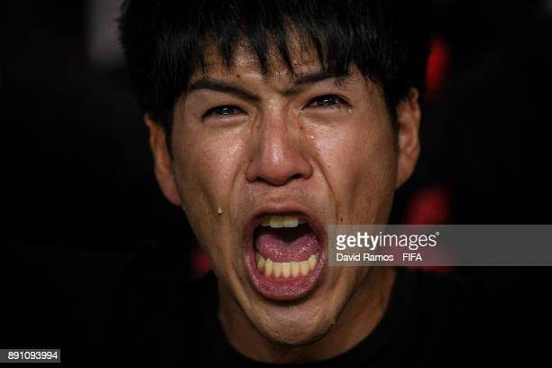 Fan of Urawa Reds cries at the end of the FIFA Club World Cup UAE 2017 fifth place playoff match between Wydad Casablanca and Urawa Reds on December...
