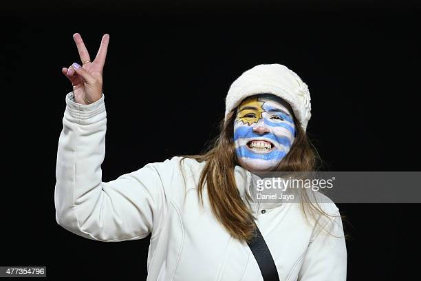 A fan of Uruguay enjoys the atmosphere prior the 2015 Copa America Chile Group B match between Argentina and Uruguay at La Portada Stadium on June 16...