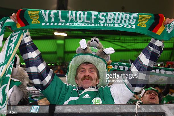 A fan of Wolfsburg is seen during the UEFA Champions League Group B first leg match between VfL Wolfsburg and Besiktas at the Volkswagen Arena on...