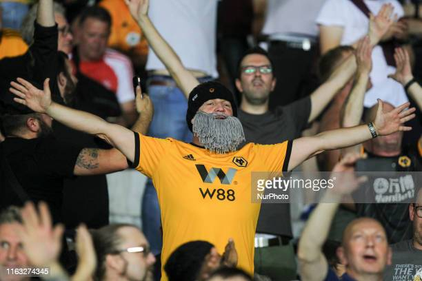 A fan of Wolverhampton Wanderers during the first leg of the playoff of UEFA Europa League between Torino FC and Wolverhampton Wanderers FC at...