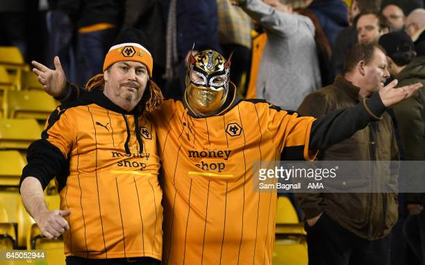 A fan of Wolverhampton Wanderers wearing a Mexican wrestling mask during the Sky Bet Championship match between Wolverhampton Wanderers and...