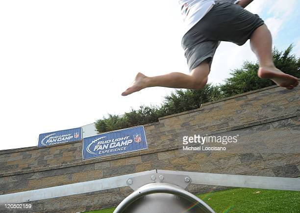 A fan participates at Bud Light NFL Fan Camp during Hall of Fame Enshrinement at Pro Football Hall Of Fame on August 6 2011 in Canton Ohio