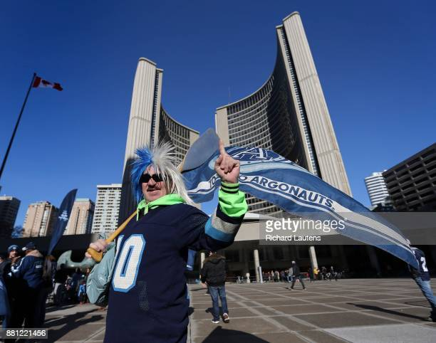 TORONTO ON NOVEMBER 28 Fan Paul Burton makes his way to the celebration The Toronto Argonauts football club celebrated their Grey Cup victory over...