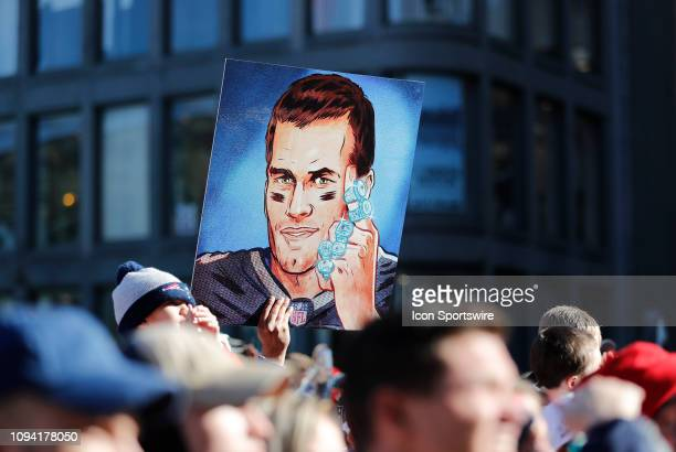 Fan picture of New England Patriots quarterback Tom Brady and his 6 rings during the New England Patriots Super Bowl Victory Parade on February 5....