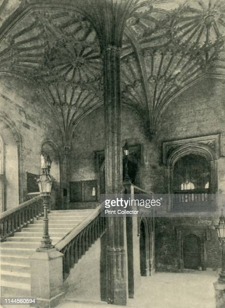 Fan Pillar and Roof Outside Christchurch Hall', 1902. Fan vaulting in the entrance to the Great Hall at Christ Church, one of the colleges in Oxford....