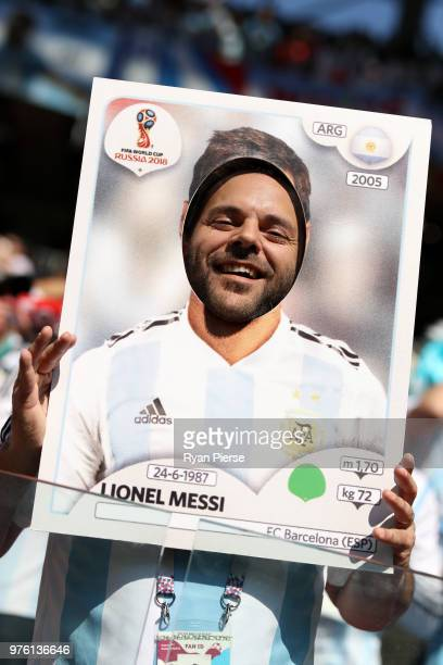 A fan poses as Lionel Messi of Argentina prior to the 2018 FIFA World Cup Russia group D match between Argentina and Iceland at Spartak Stadium on...