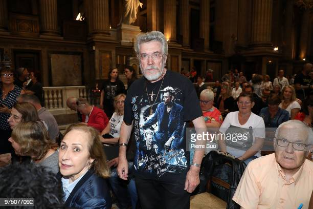 A fan poses during the Tribute to Johnny Hallyday at Eglise De La Madeleine on June 15 2018 in Paris France