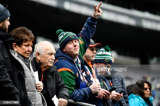 Fan poses for a photo during the XFL game between the Dallas Renegades and the Seattle Dragons at CenturyLink Field on February 22, 2020 in Seattle,...