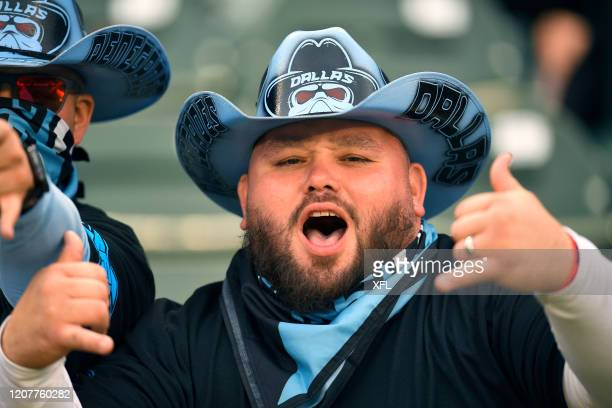 Fan poses for a photo during the XFL game between the St. Louis BattleHawks and the Dallas Renegades at Globe Life Park on February 9, 2020 in...