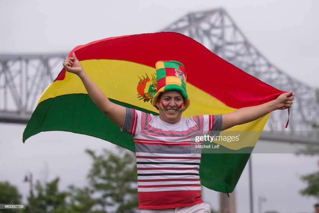 A fan poses for a picture prior to the friendly soccer match between Bolivia and the United States at Talen Energy Stadium on May 28, 2018 in Chester, Pennsylvania.