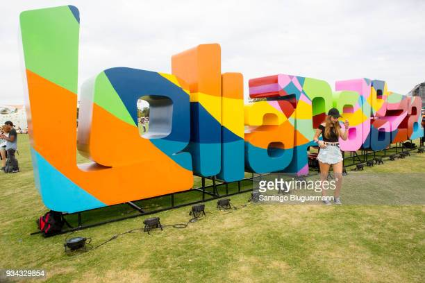 Fan poses for photos at Lollapalooza spot during day two of Lollapalooza Buenos Aires 2018 at Hipodromo de San Isidro on March 17, 2018 in Buenos...