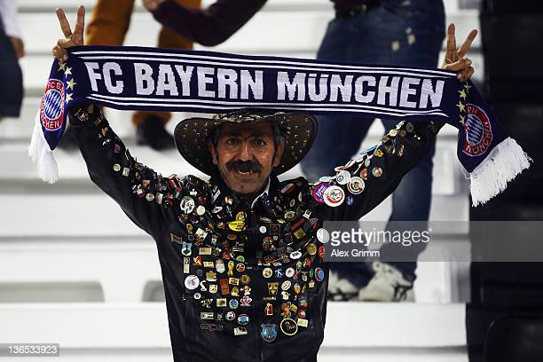A fan poses prior to during the international friendly match between AlAhly Cairo and Bayern Muenchen at AlRayyan Stadium on January 7 2012 in Doha...