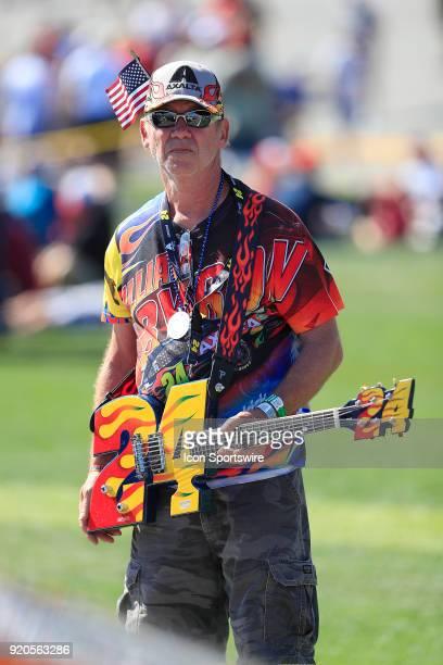 NASCAR fan prior to the 60th running of the Daytona 500 on February 18 at the Daytona International Speedway in Daytona Beach FL