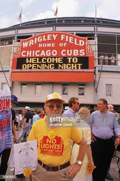Fan protesting no lights in Wrigley Field taken during a game in the 1988 season in Chicago, Illinois.
