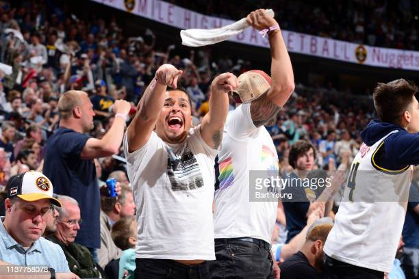 A fan reacts during Game Two of Round One of the 2019 NBA Playoffs between the San Antonio Spurs and the Denver Nuggets on on April 16 2019 at the...