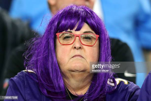 A fan reacts during the AFC Divisional Playoff game between the Tennessee Titans and the Baltimore Ravens at MT Bank Stadium on January 11 2020 in...