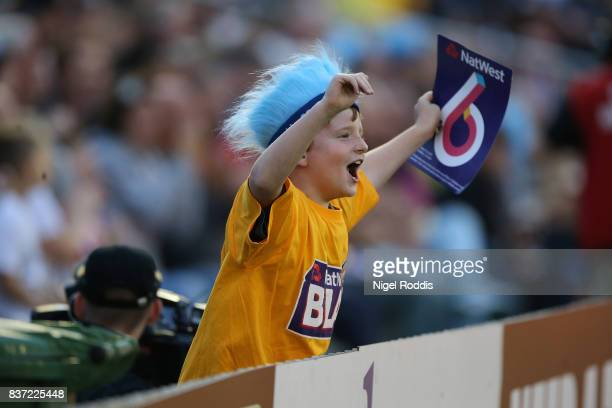 A fan reacts during the NatWest T20 Blast at The 3aaa County Ground on August 22 2017 in Derby England