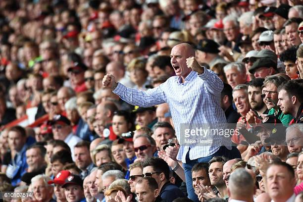 A fan reacts during the Premier League match between AFC Bournemouth and Everton at the Vitality Stadium on September 24 2016 in Bournemouth England