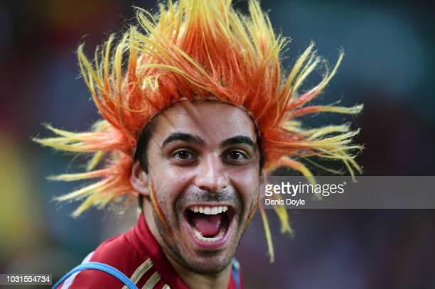 A fan reacts prior to the UEFA Nations League A group four match between Spain and Croatia at on September 11 2018 in Alicante Spain