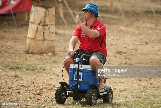 A fan rides rides a motorised esky during practice for the Winton 400 which is round three of the V8 Super Championship Series at Winton Motor...