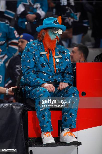 A fan rides the zamboni during a break in play of the game between the Edmonton Oilers and San Jose Sharks in Game Three of the Western Conference...