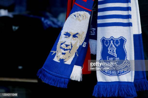 A fan scarf showing the face of Carlo Ancelotti the Manager / Head Coach of Everton and the crest of Everton before the Premier League match between...