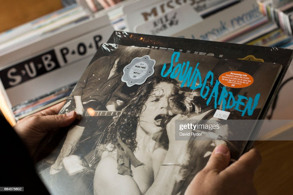 A fan shops for Soundgarden records at Light In The Attic Records inside the KEXP radio studio on May 18, 2017 in Seattle, Washington. Musician Chris Cornell, a member of revered rock groups Soundgarden and Audioslave, was found dead overnight in Detroit at age 52.
