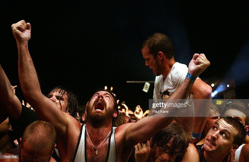 A fan shouts out as Rage Against The Machine perform on stage during the 2008 Big Day Out at the Claremont Showgrounds on February 3, 2008 in Perth, Australia.