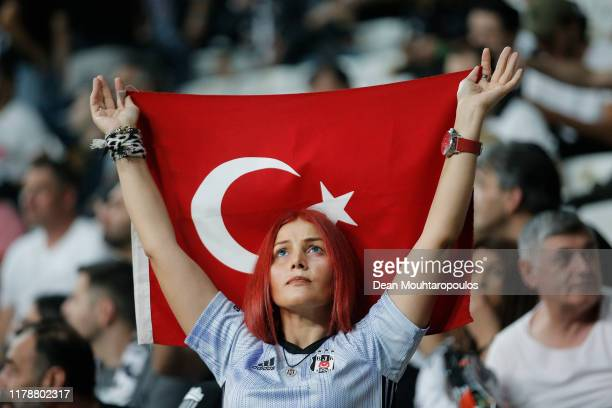 Fan show their support prior to the UEFA Europa League group K match between Besiktas and Wolverhampton Wanderers at Vodafone Park on October 03,...