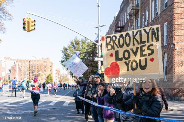 A fan showing a sign that Brooklyn loves you during 2019 TCS New York City Marathon in New York City on November 3 2019 in New York City USA