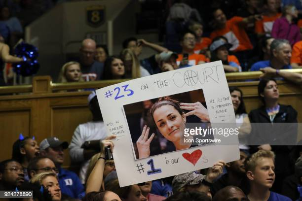 A fan showing Duke Blue Devils guard Rebecca Greenwell some love during the 2nd half of the Women's Duke Blue Devils game versus the Women's North...