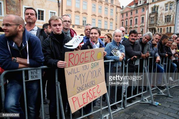 A fan shows a message to Roger Federer during a photoshoot ahead of the Laver Cup on September 20 2017 in Prague Czech Republic The Laver Cup...