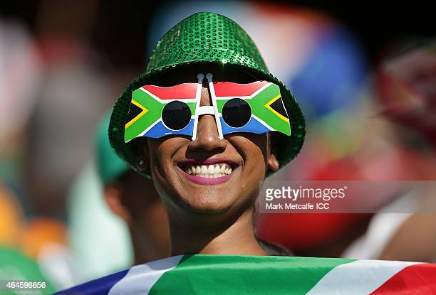 A fan shows her support during the 2015 ICC Cricket World Cup match between South Africa and the West Indies at Sydney Cricket Ground on February 27...
