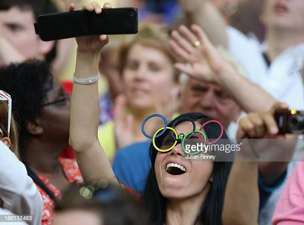 A fan shows her support during the Men's Football Bronze medal playoff match between Korea and Japan on Day 14 of the London 2012 Olympic Games at...