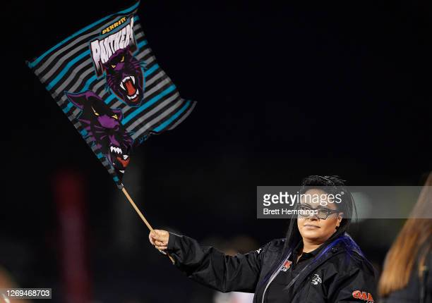 Fan shows her support during the round 16 NRL match between the Panthers and the Wests Tigers at Panthers Stadium on August 29, 2020 in Penrith,...