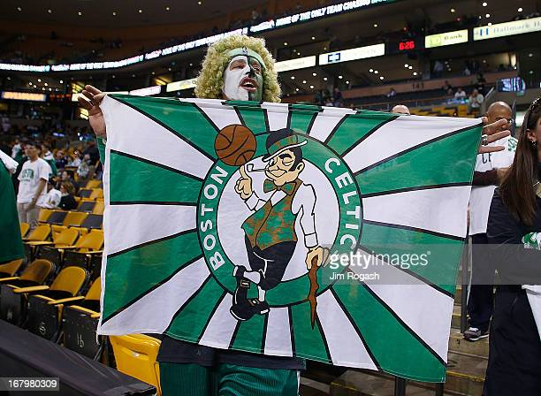A fan shows his Celtic pride prior to Game Six of the Eastern Conference Quarterfinals of the 2013 NBA Playoffs on May 3 2013 at TD Garden in Boston...
