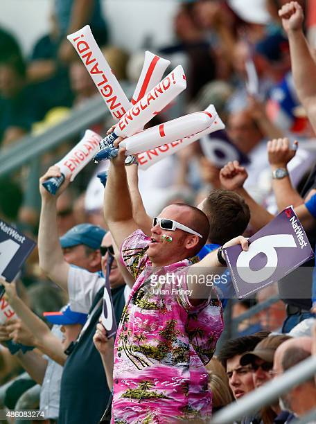 A fan shows his support during the NatWest T20 International match between England and Australia at SWALEC Stadium on August 31 2015 in Cardiff...