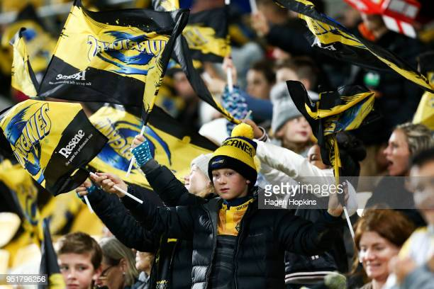 A fan shows his support during the round 11 Super Rugby match between the Hurricanes and Sunwolves at Westpac Stadium on April 27 2018 in Wellington...