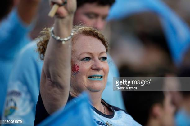 A fan shows support during the round one Super Rugby match between the Waratahs and the Hurricanes at Brookvale Oval on February 16 2019 in Sydney...