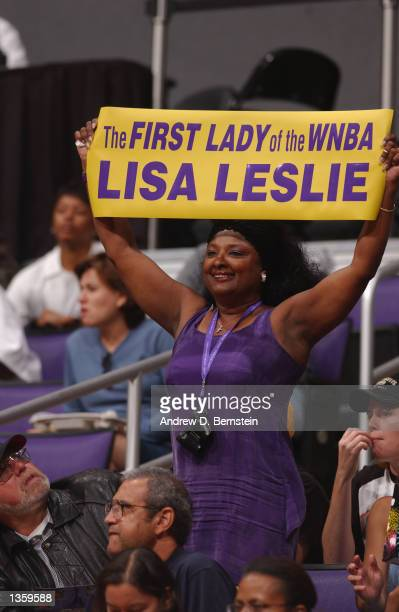 A fan shows support for Lisa Leslie of the Los Angeles Sparks during Game two of the Western Conference Semifinals during the 2002 WNBA Playoffs...