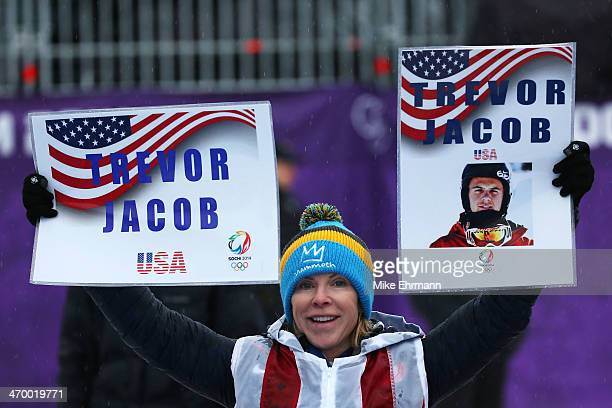 A fan shows support for Trevor Jacob of the United States during the Men's Snowboard Cross Finals on day eleven of the 2014 Winter Olympics at Rosa...