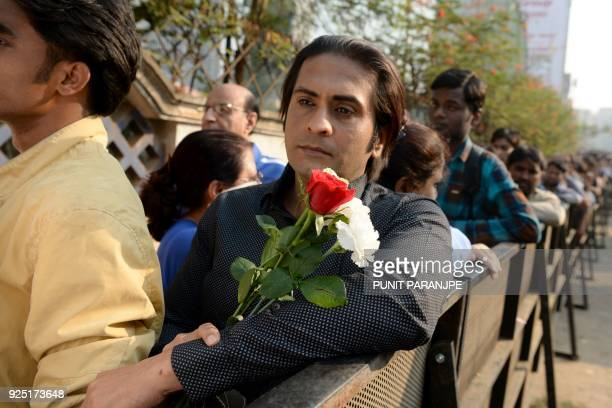 A fan stands in queue to pay his last respects to late Bollywood actress Sridevi Kapoor before her funeral in Mumbai on February 28 2018 India has...