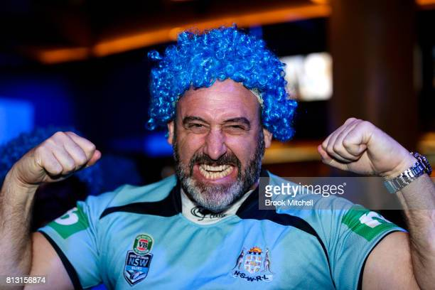 NSW fan Steve Hayes at Star City before game three of the State Of Origin series between the Queensland Maroons and the New South Wales Blues on July...