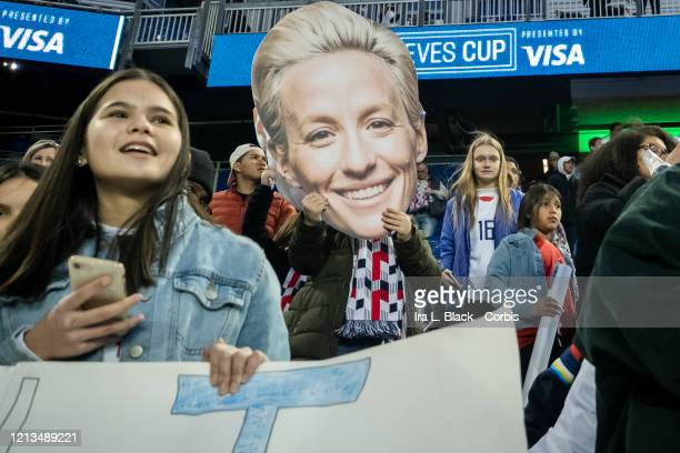 Fan supporting Megan Rapinoe of the United States holds up a Megan head during the 2020 SheBelieves Cup match between United States and Spain...