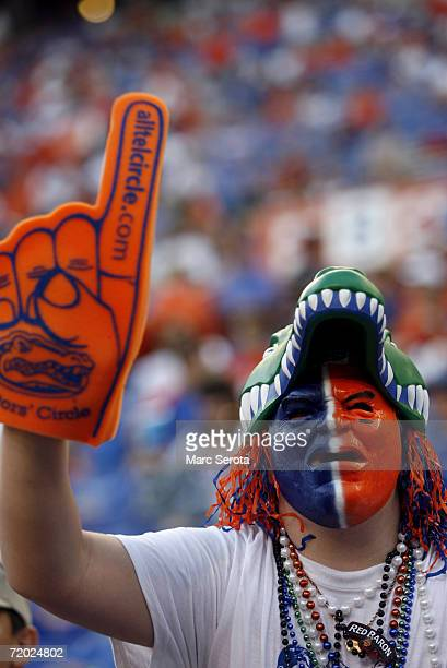 A fan supports the University of Florida Gators during the game against the University of Kentucky Wildcats at Ben Hill Griffin Stadium on September...