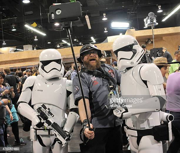 A fan takes a selfie with the new Storm Troopers on Day One of Disney's 2015 Star Wars Celebration held at the Anaheim Convention Center on April 16...