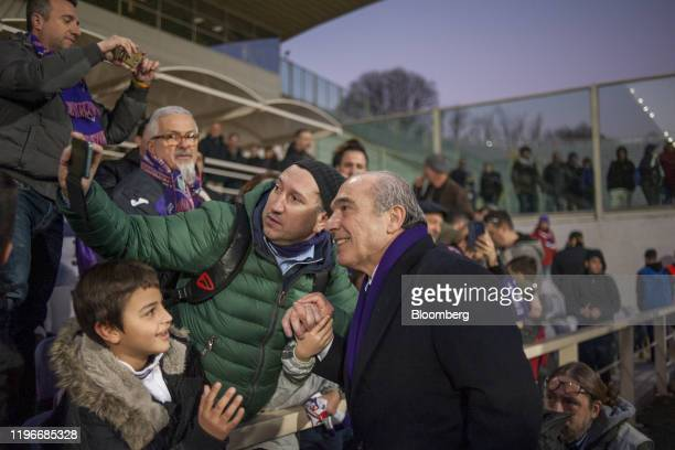 A fan takes a selfiephotograph with Rocco Commisso chief executive officer and founder of Mediacom Communications Corp after ACF Fiorentina v SPAL...