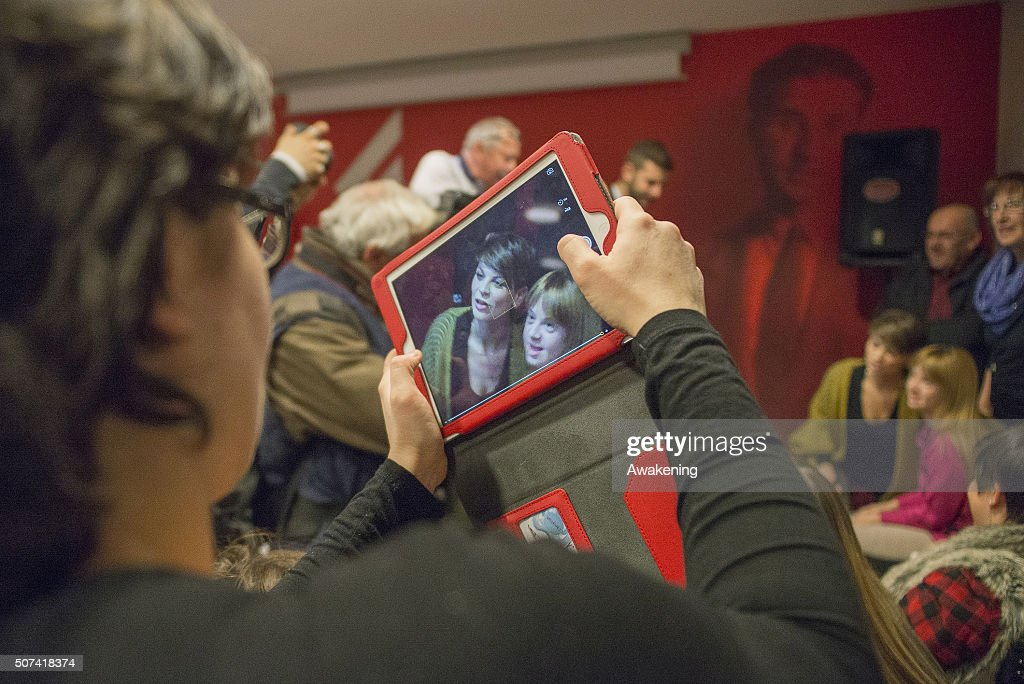 A fan takes pictures of Alessandra Amoroso during the presentation of 'Vivere a Colori' on January 29, 2016 in Turin, Italy.