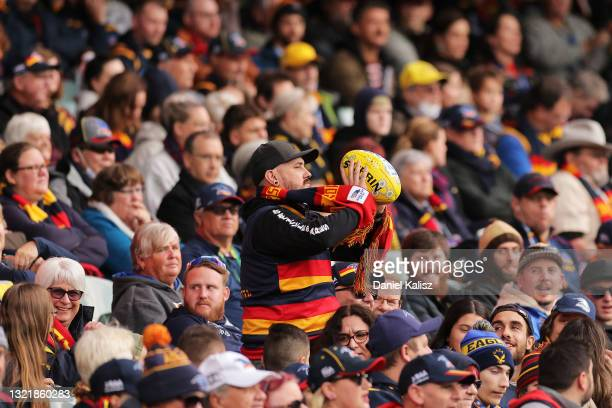 Fan throws the ball back onto the ground during the round 12 AFL match between the Adelaide Crows and the Collingwood Magpies at Adelaide Oval on...