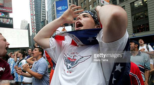 Fan Tim Wigand shows his disappointment as the U.S. Team misses a goal opportunity while watching the U.S.-Ghana World Cup game in Times Square on...